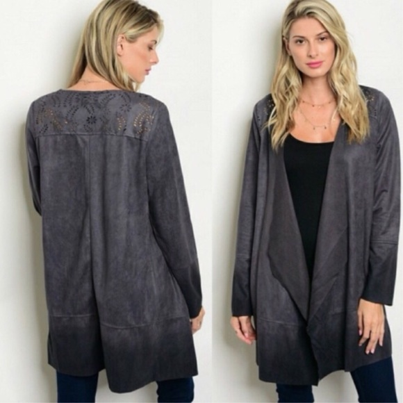 Sweaters - Charcoal Faux Suede Cardigan